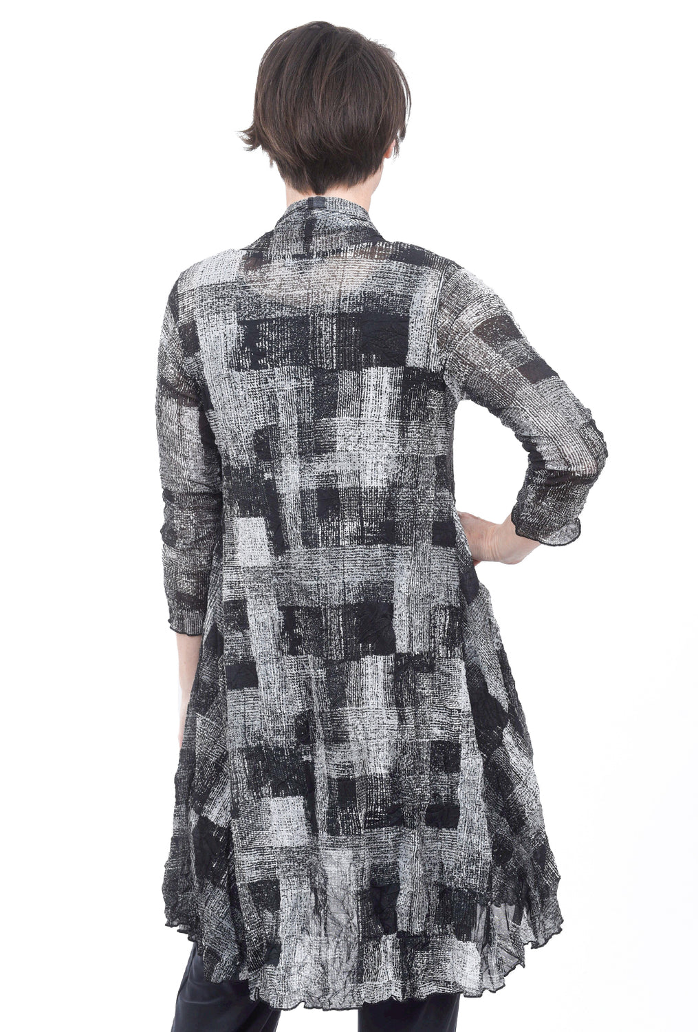 Comfy USA Mesh Long Open Cardie, Gray Plaid