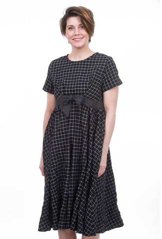 Amma Empire-Waist Plaid Dress, Black