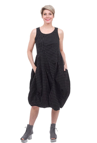 Rundholz Black Label Stretch Check Lantern Dress, Black