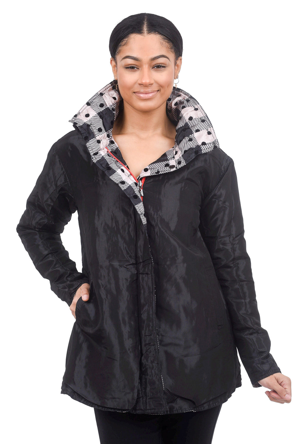 Ubu Quilted Print Reversible Coat, Check/Black
