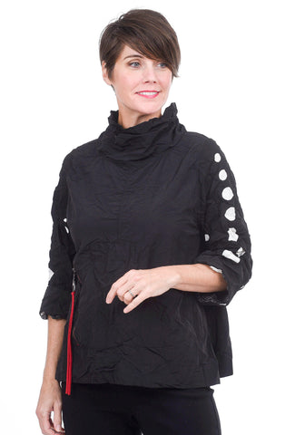 Moonlight Contrast Dot Sleeve Tech Top, Black