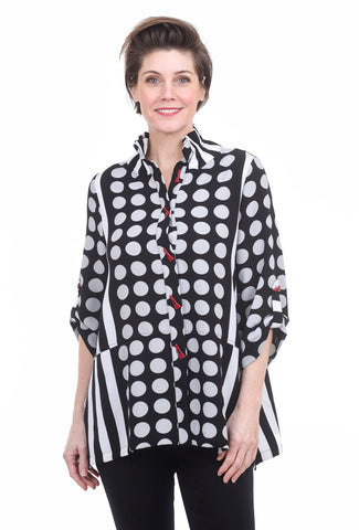 Moonlight Dots & Stripes Blouse, Black/Gray