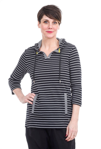 Orly Striped Hoodie Sweater, Black/White