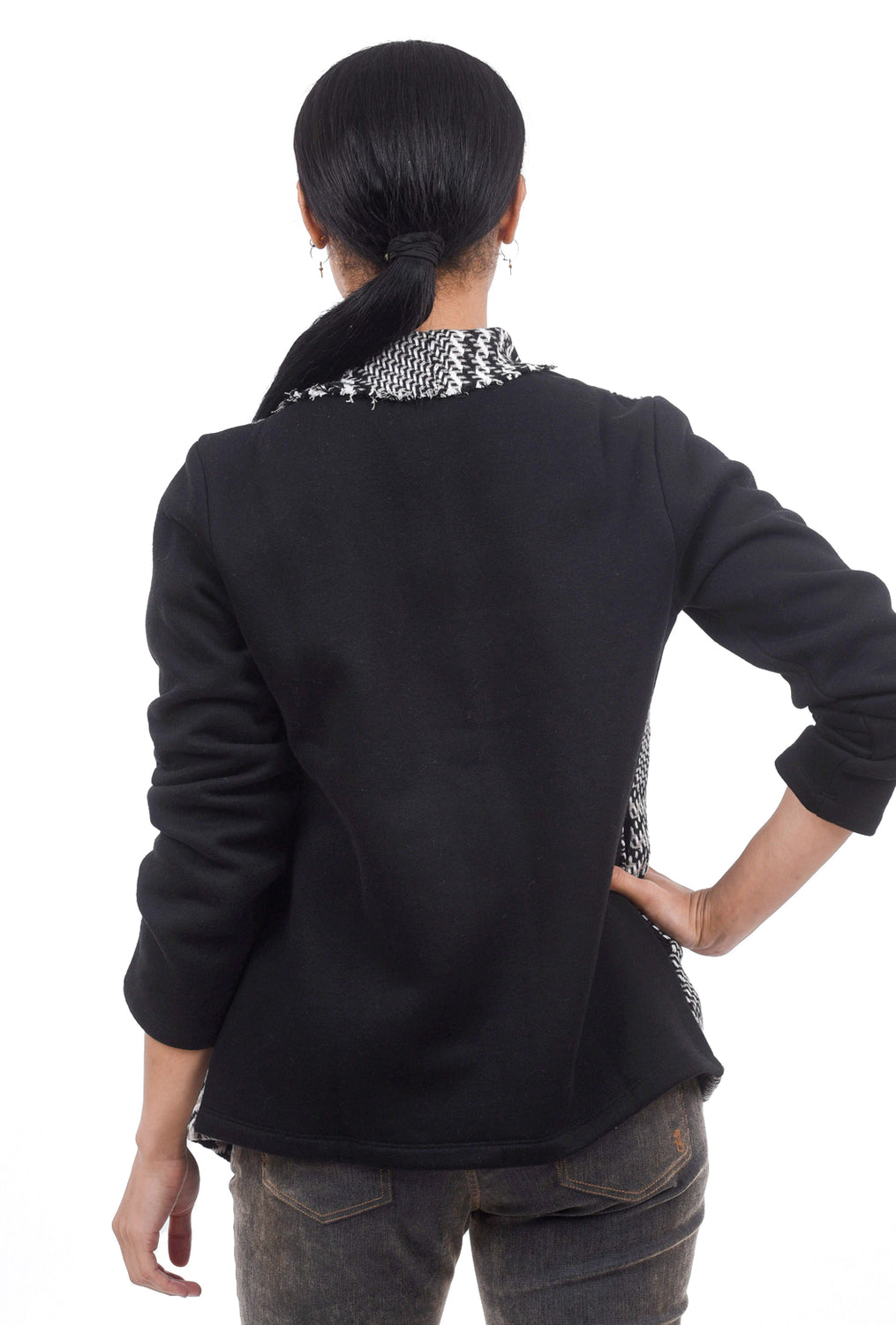 Mystree Frayed-Edge Combo Jacket, Black/White