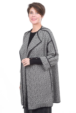 Moonlight Trimmed Open Jacket, White/Black