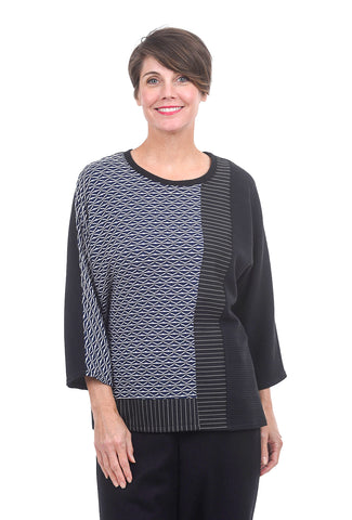 Christopher Calvin Mix Knit Top, Navy/Black