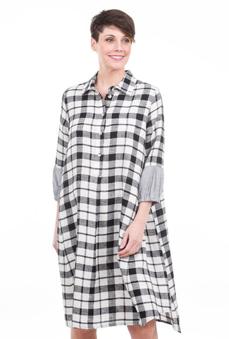 Bika Drora Parkal Dress, White/Black Check
