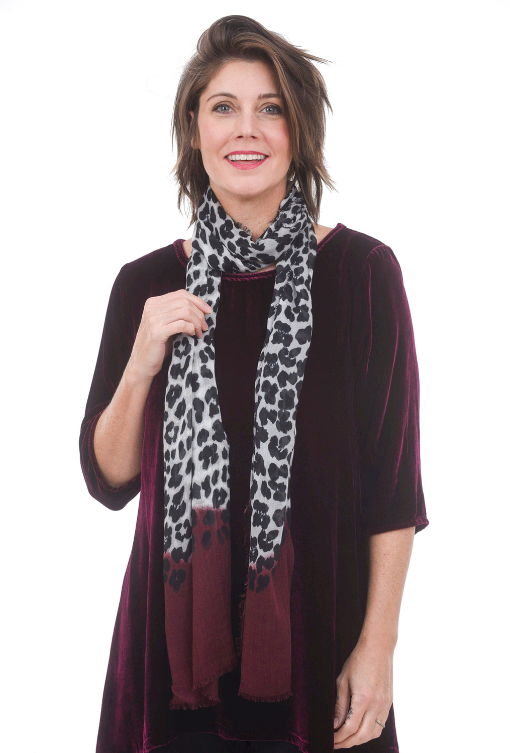Blue Pacific Animal Dip-Dye Scarf, Burgundy
