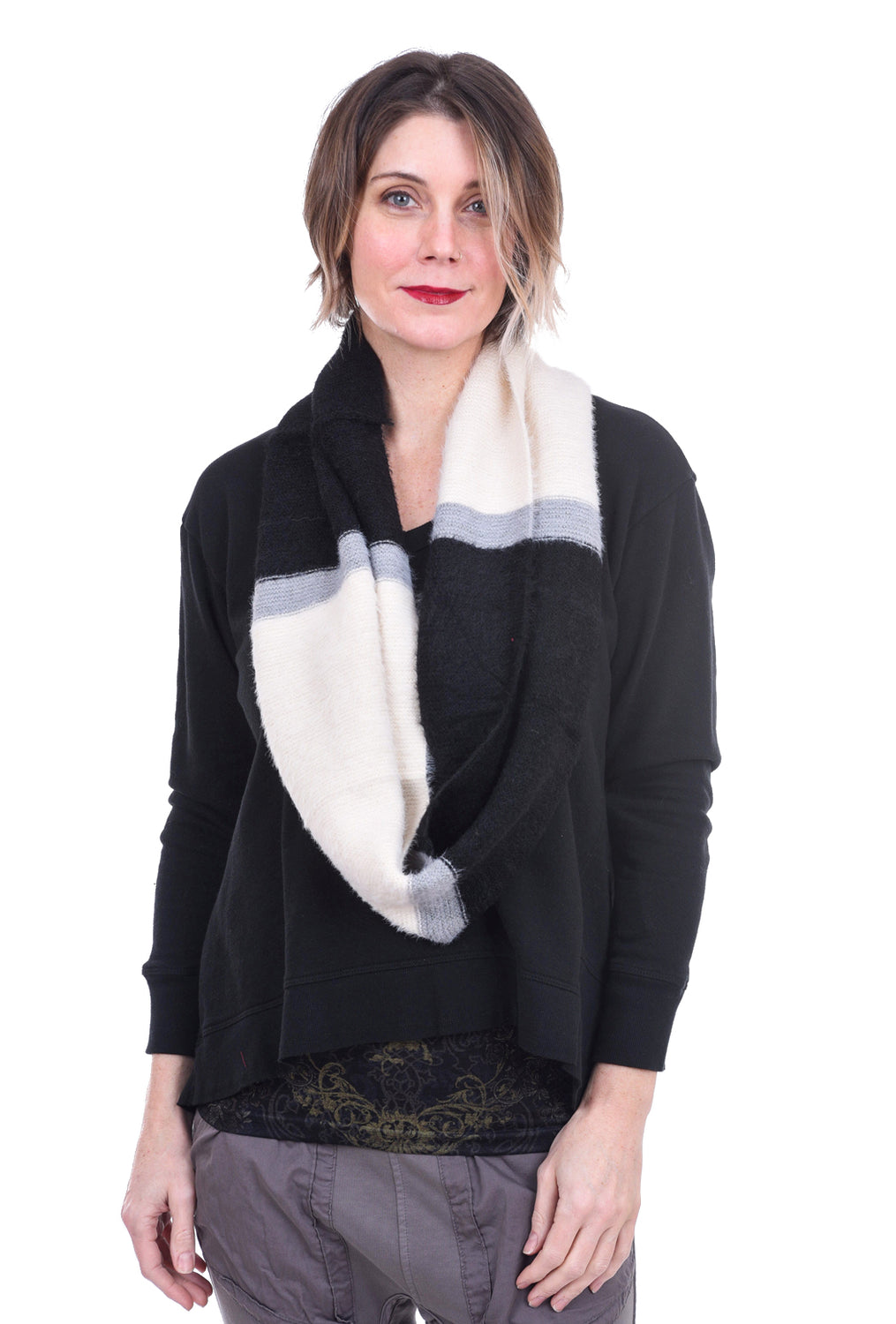 New Prospects Plush Infinity Scarf, Black/Cream One Size Black