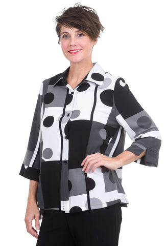 Graphic Dots & Squares Blouse, Gray/Black