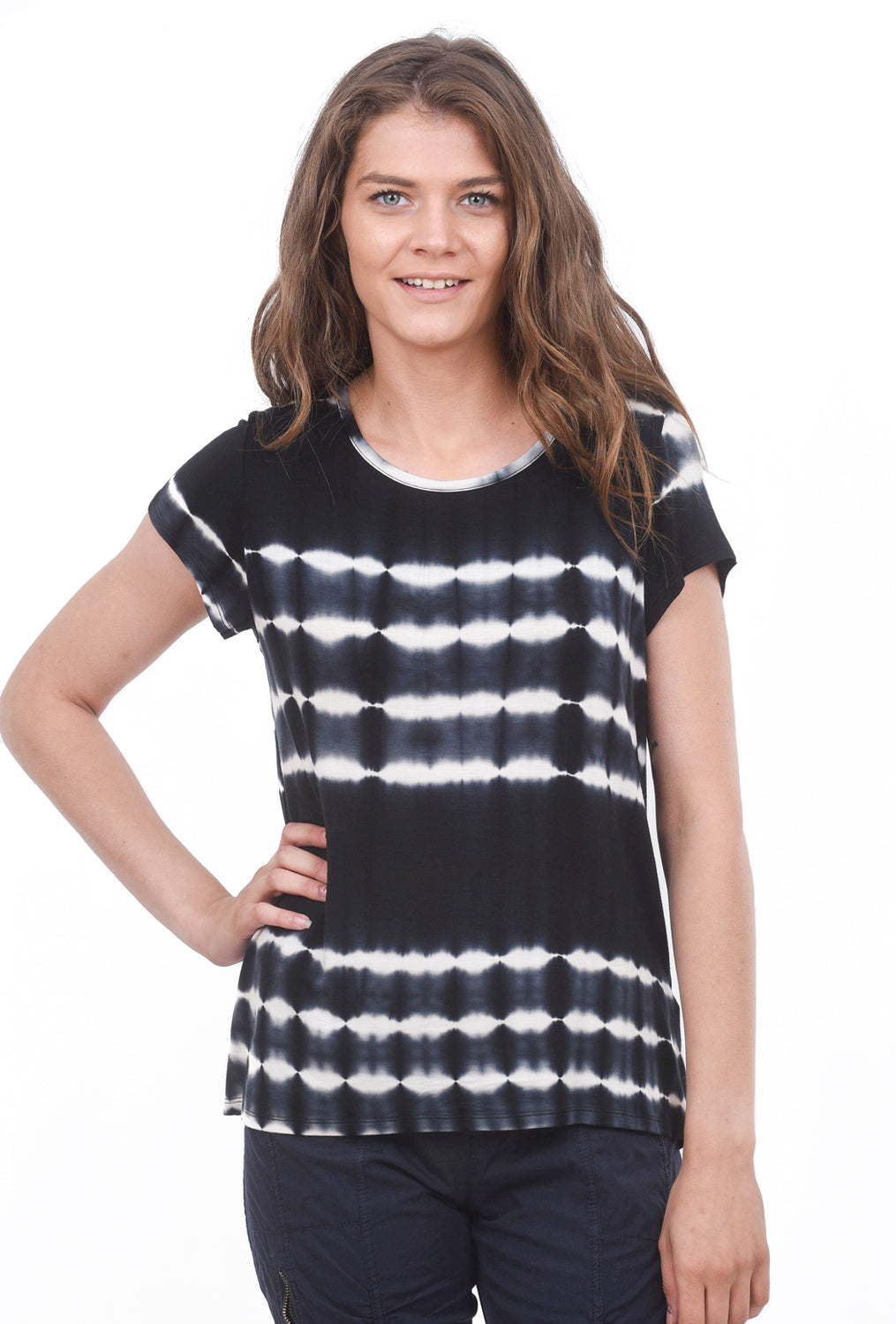 Coin1804 S/S Tie-Dye Button-Back Tee, Black/White