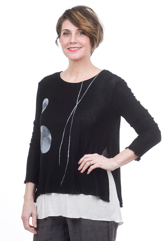 Fenini Layered Sweater Top, Black