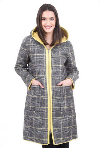 Patrizia Luca Reversible Hooded Coat, Black/Yellow