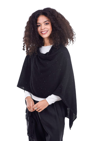 In Cashmere Sequin Ruana, Black One Size Black