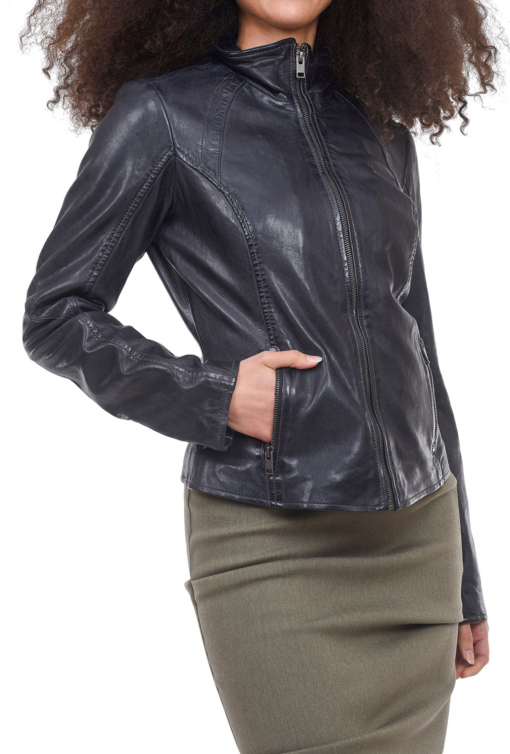 Mauritius Else Leather Jacket, Navy