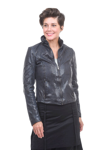 Mauritius Slim Zip Pocket Leather Jacket, Navy
