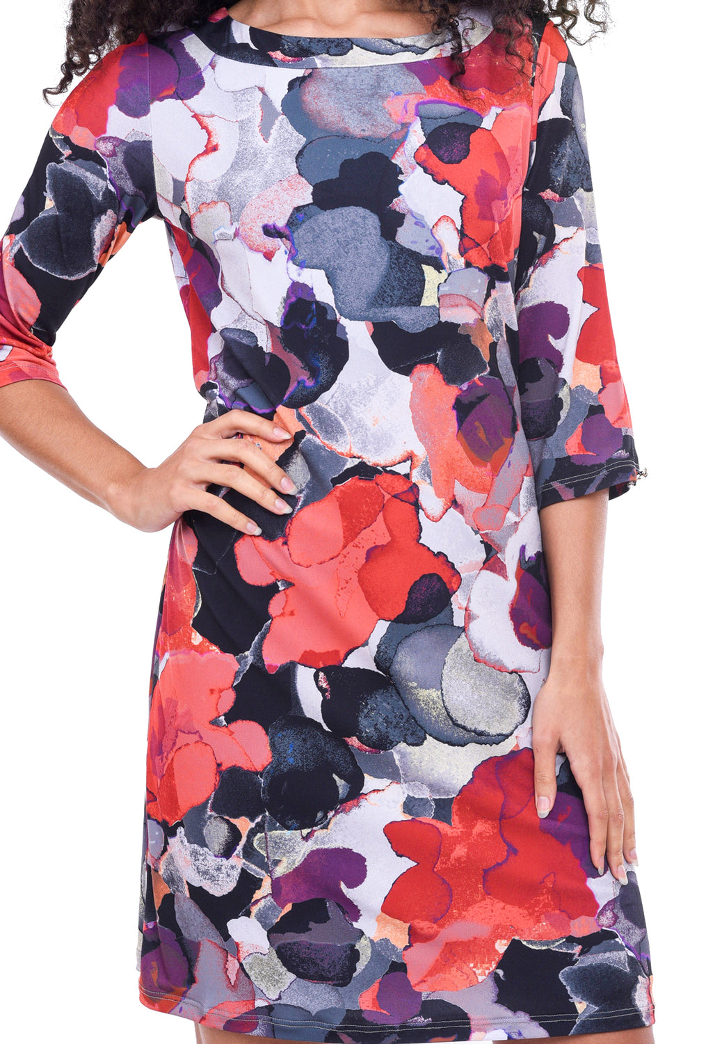 Papillon Blanc Floral Shift Dress, Red