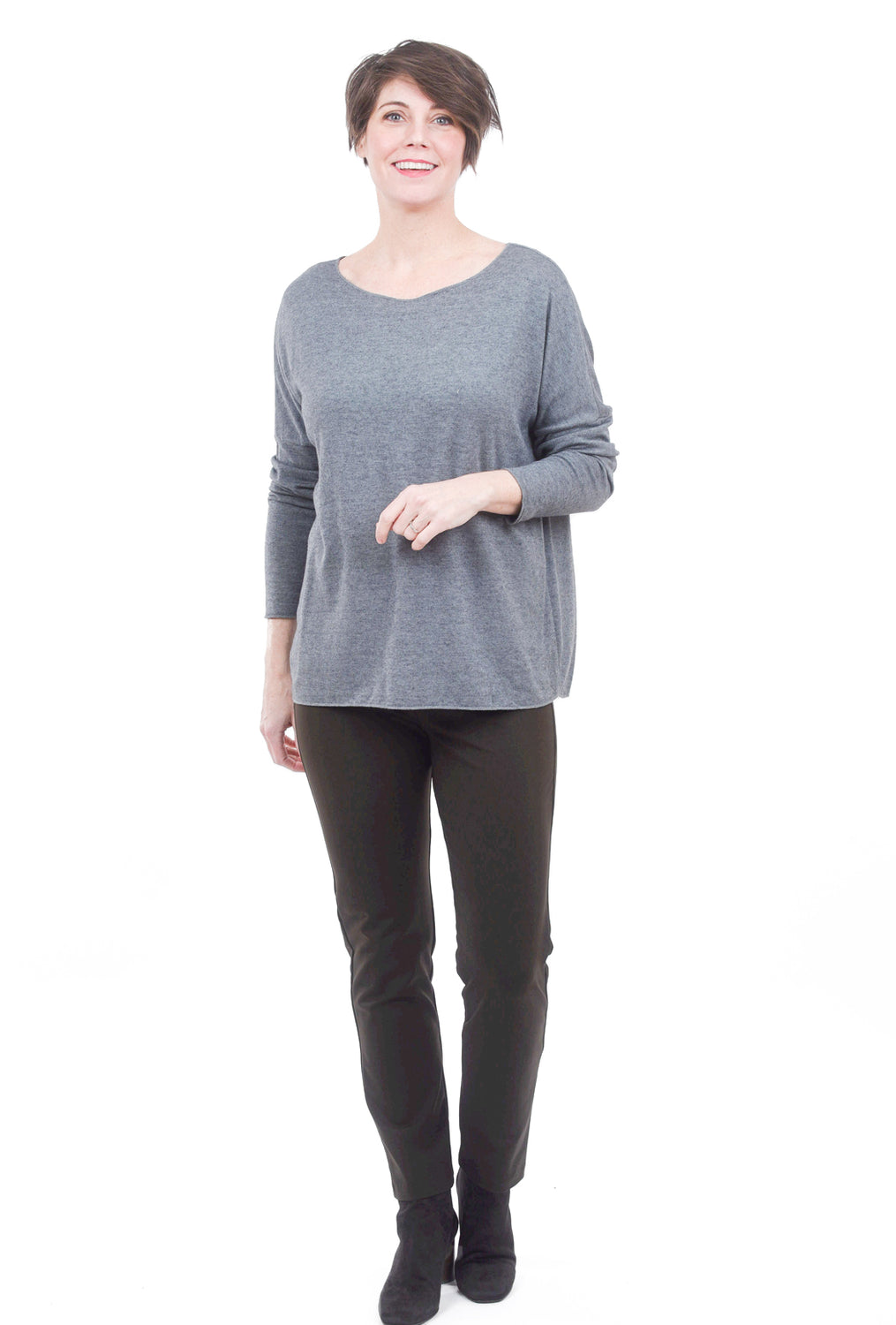 Oro Bonito Viscose Knit Boxy Sweater, Slate One Size Slate