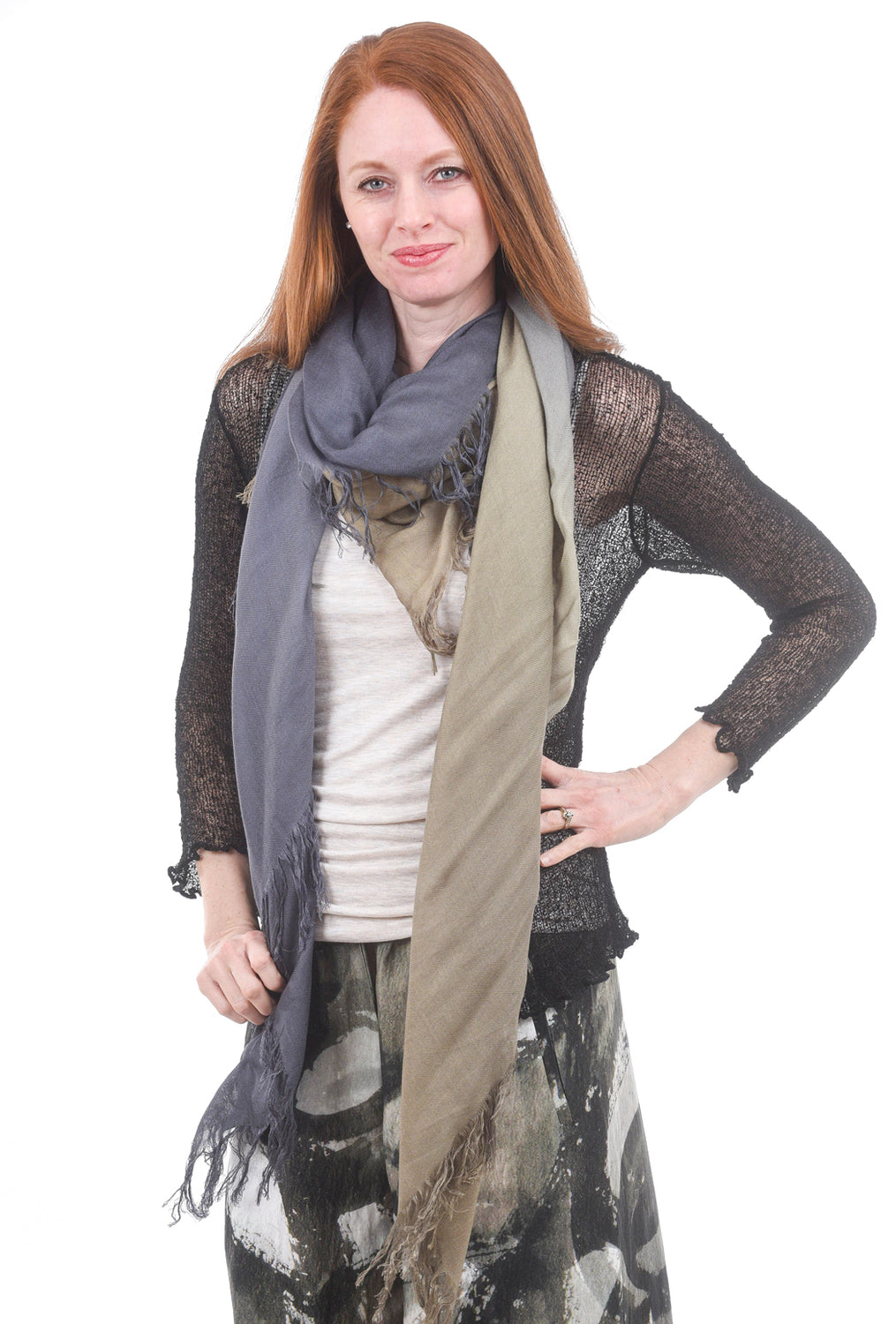Blue Pacific Tissue Solid Scarf, Denim/Olive