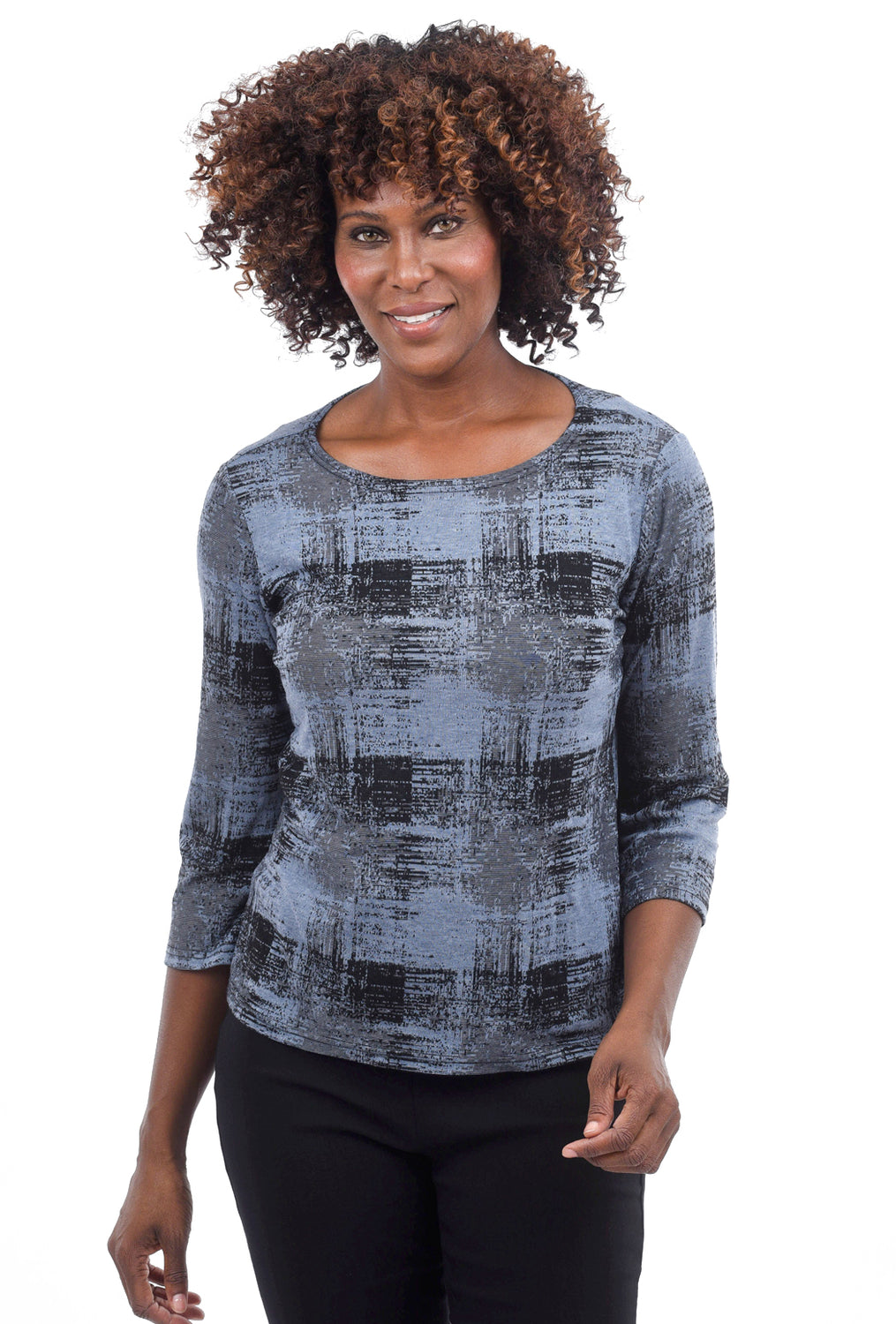 Cut Loose Pixel Check Boatneck Tee, Blueprint
