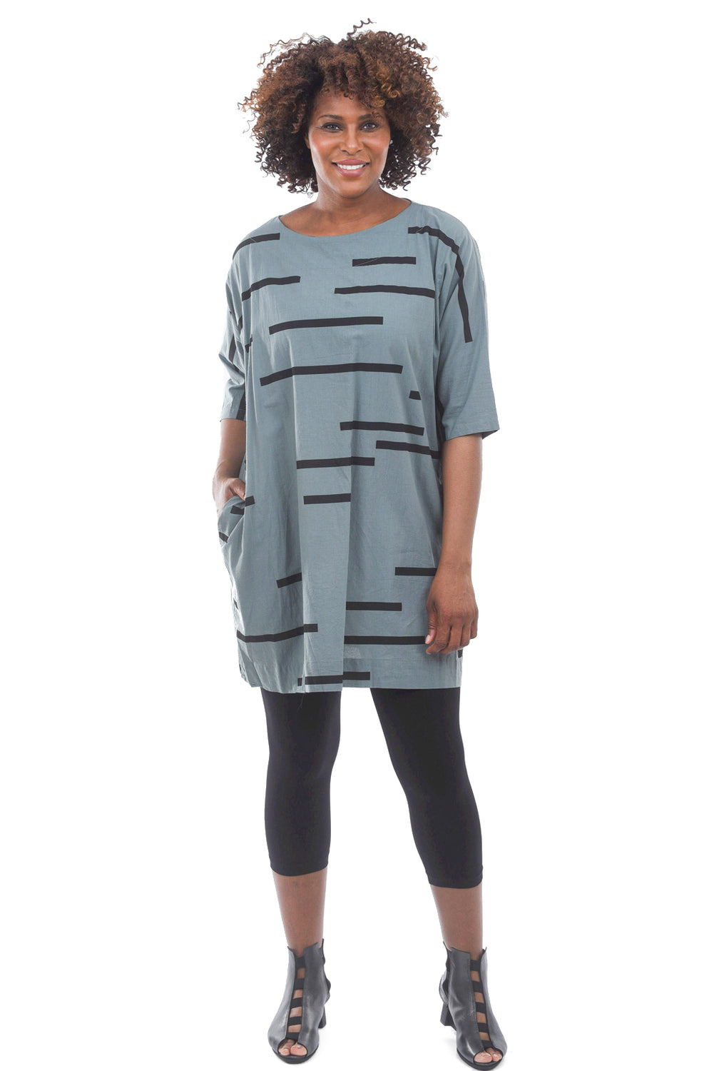 Uzi NYC Print Now Dress, Broken Teal