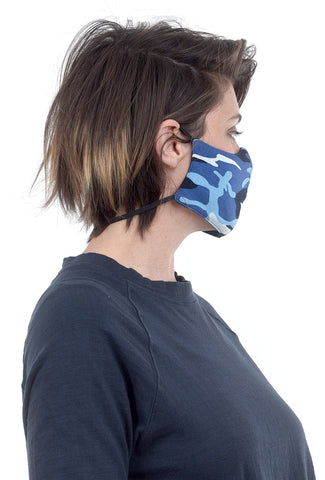 Color Me Cotton CMC Print Face Mask, Blue Camo
