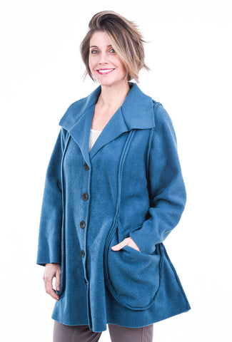 M Square Fleece Drape Jacket, Teal One Size Teal