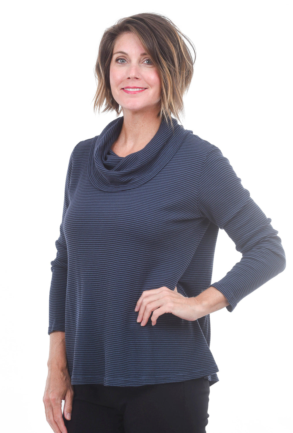 Cut Loose Thermal Cowl Pullover, Blue Moon