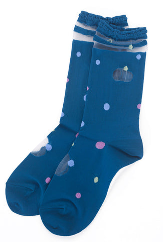 Ji-U Mesh/Dot Inset Socks, Blue One Size Blue