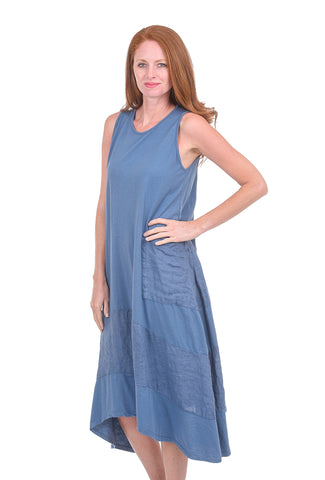 Oro Bonito Linen Details Tank Dress, Denim Blue One Size Blue