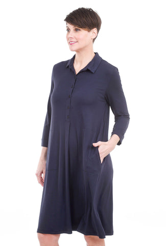 Midi Polo Dress, Navy
