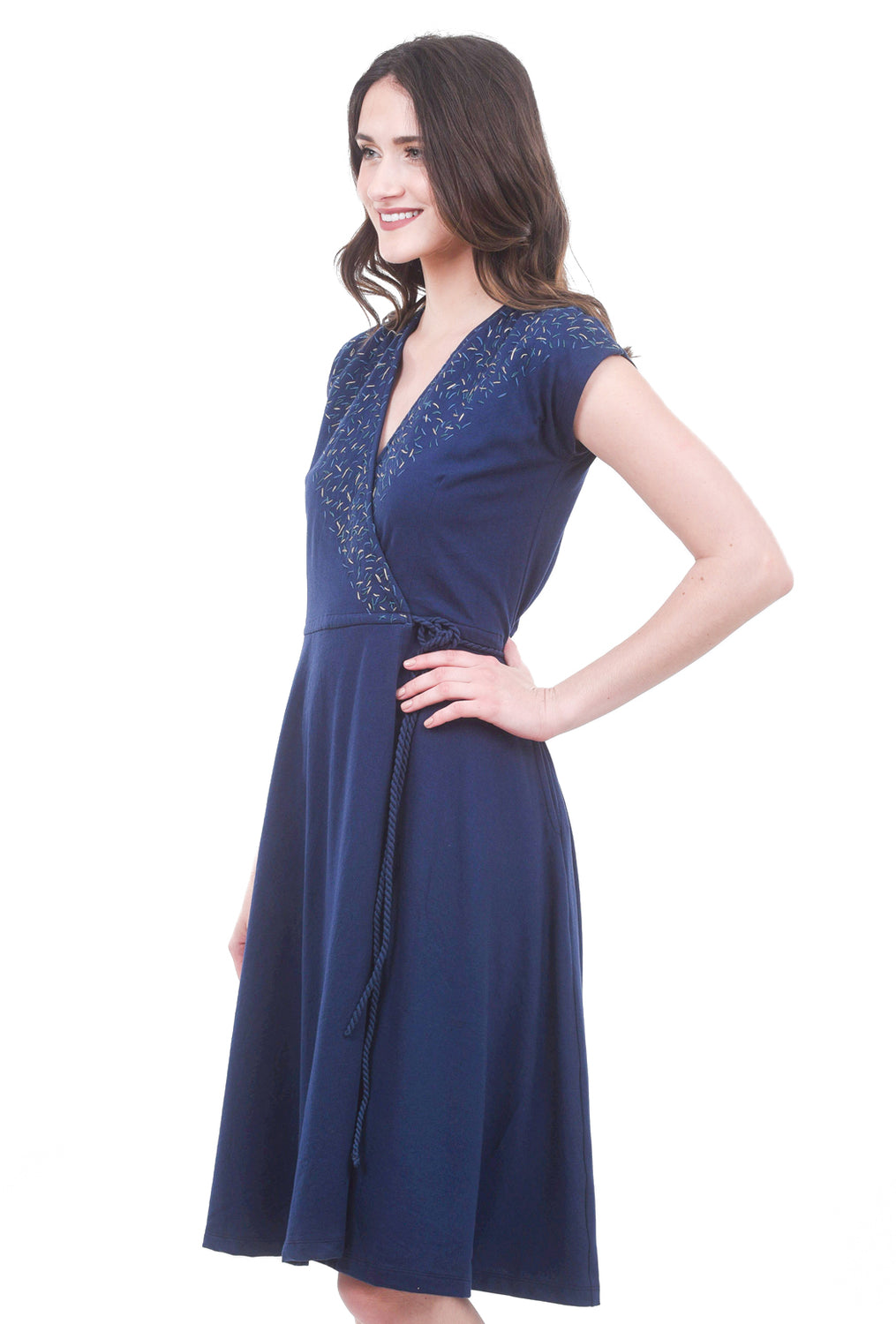 Tonle Mekong Wrap Dress, Navy