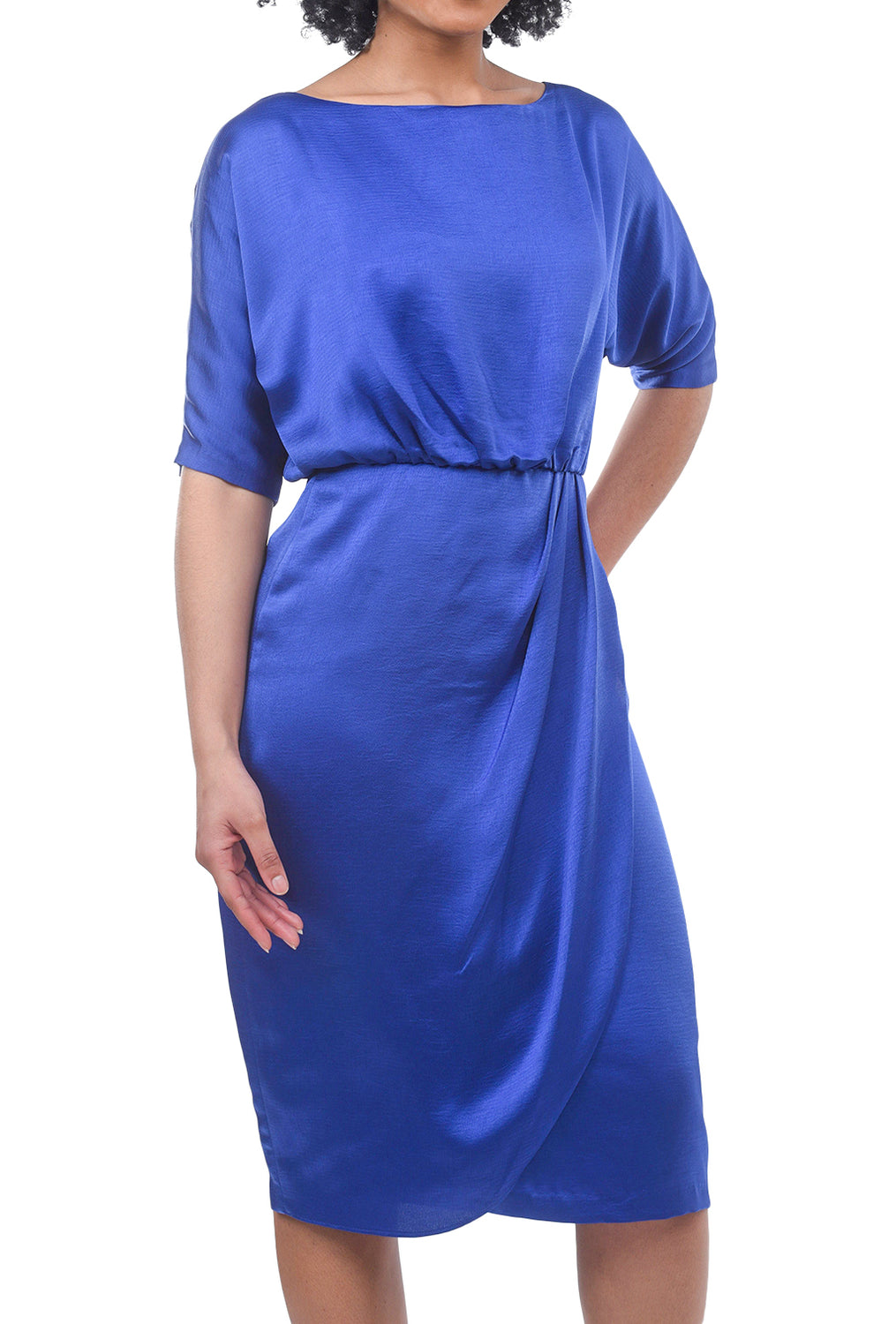 Maggy London Draped Blouson Dress, Empire Blue