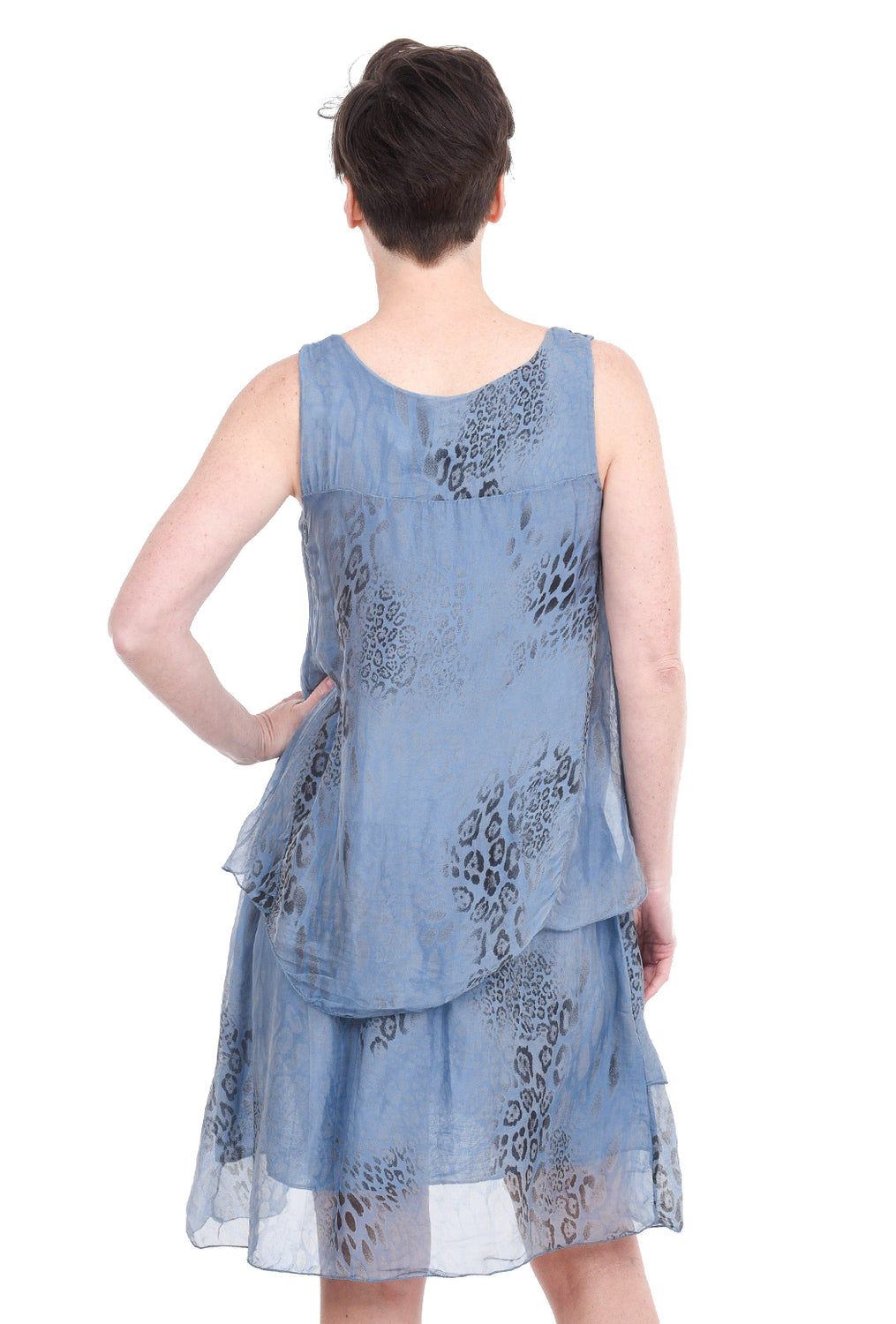 Tempo Paris Animal-Print Floaty Dress, Blue