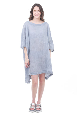 Uzi NYC Uzi Gauze Box Dress, Denim One Size Denim