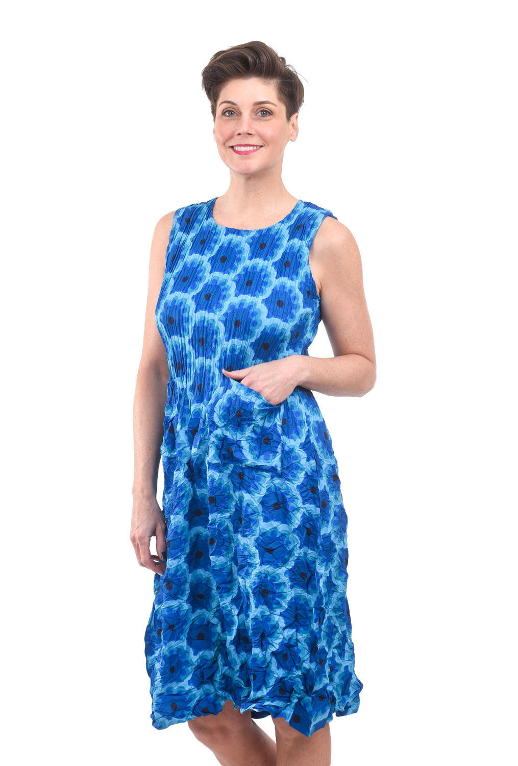 Alquema Smash Pocket Dress, Blue Daisy
