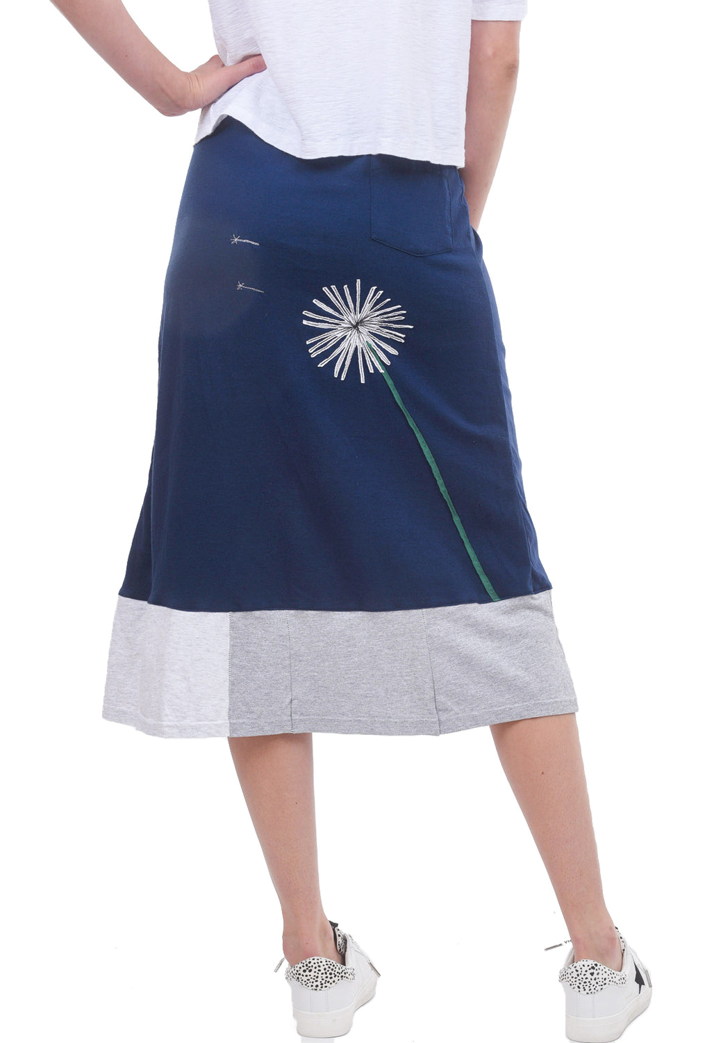 Sardine Clothing Company Longer Recycled Tee Skirt, Blue Dandelion