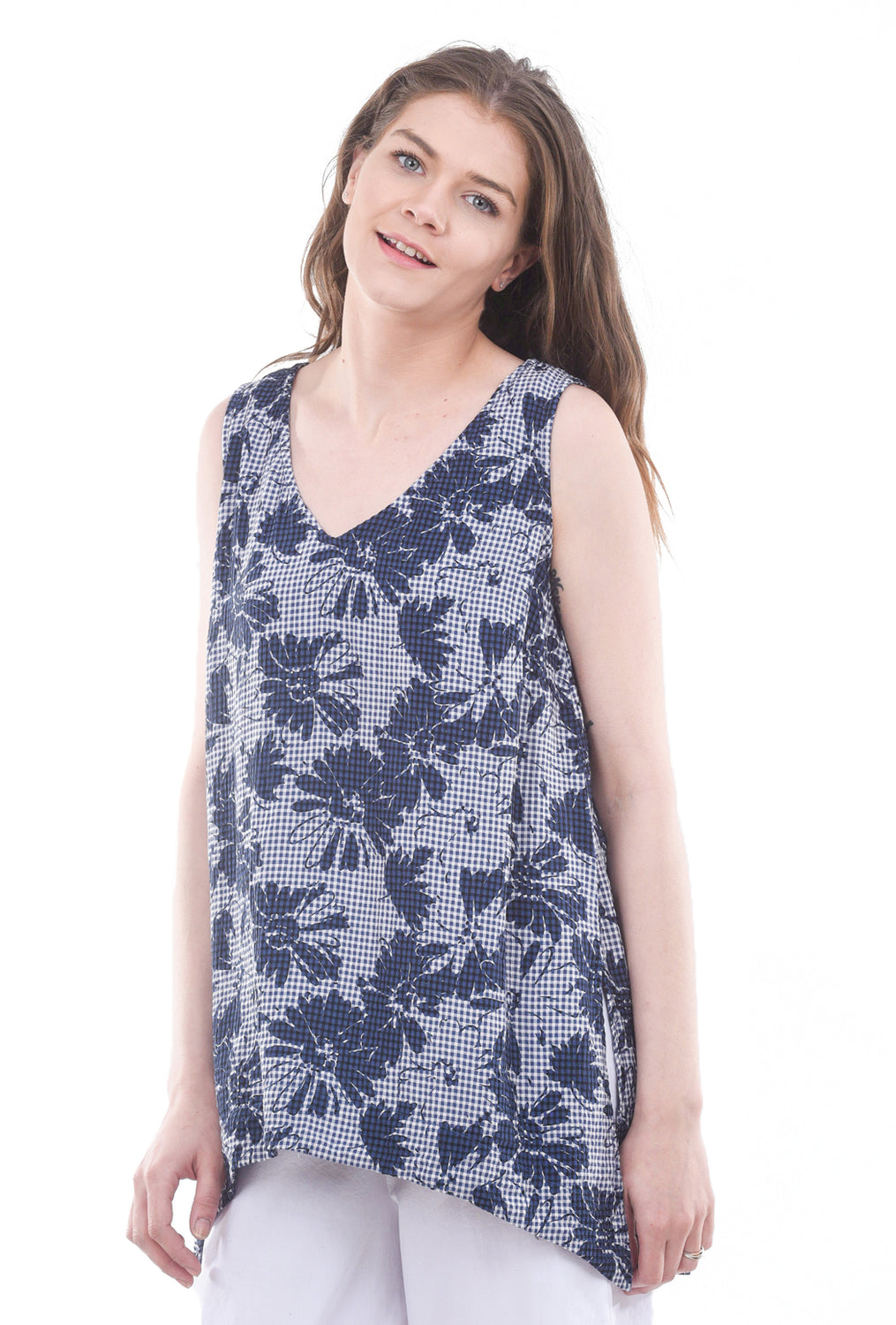 Cut Loose Floral Check Flowy Tank, Space Blue