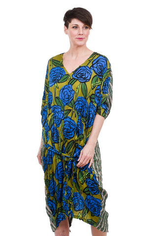 Alembika Bika Valentine Dress, Chartreuse/Blue One Size Blue