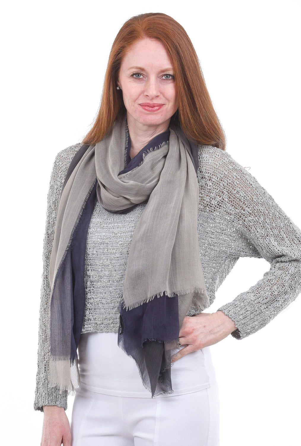 Blue Pacific Dream Scarf, Navy/Taupe