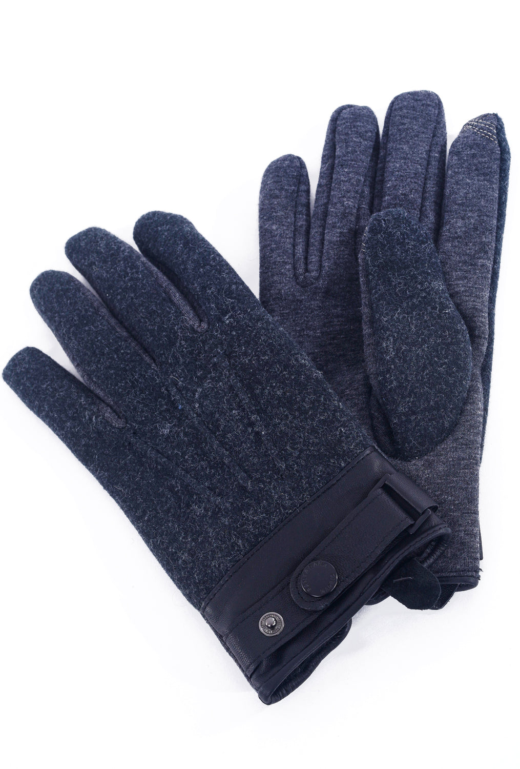 Santacana Madrid Men's Leather-Trim Tech Gloves, Charcoal