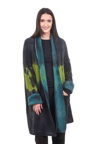F Cashmere Lightening Crashes Cardie, Green/Lime