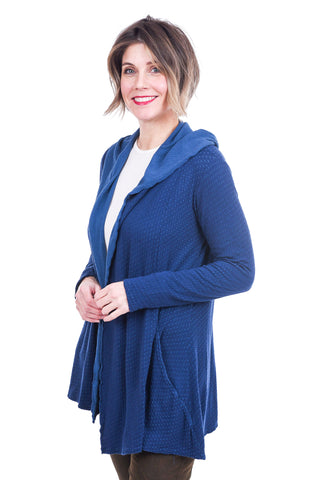 Cut Loose Tonal Dot Hooded Cardie, Tahoe Blue
