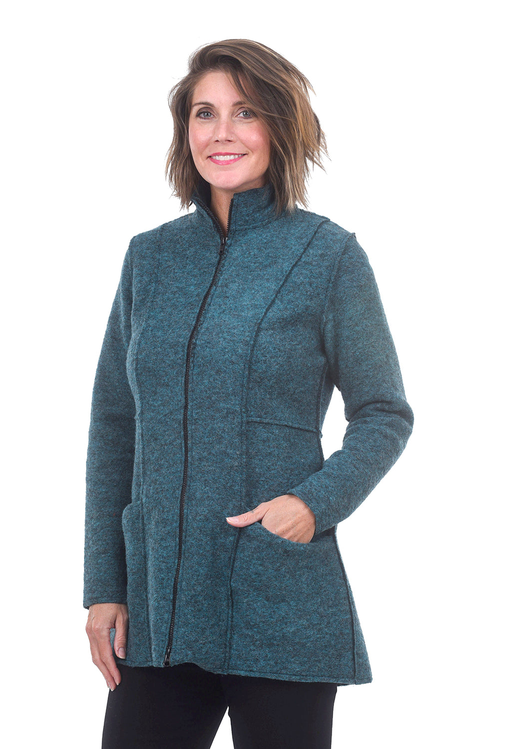 Cut Loose Boiled Wool Zip Jacket, Gulfstream Teal