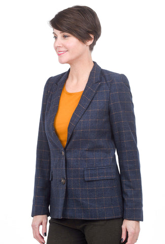 e Korner Brushed Check Blazer, Navy