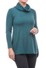 Kinross Cashmere Cowl Cashmere Back Pleat Tunic, Emerald