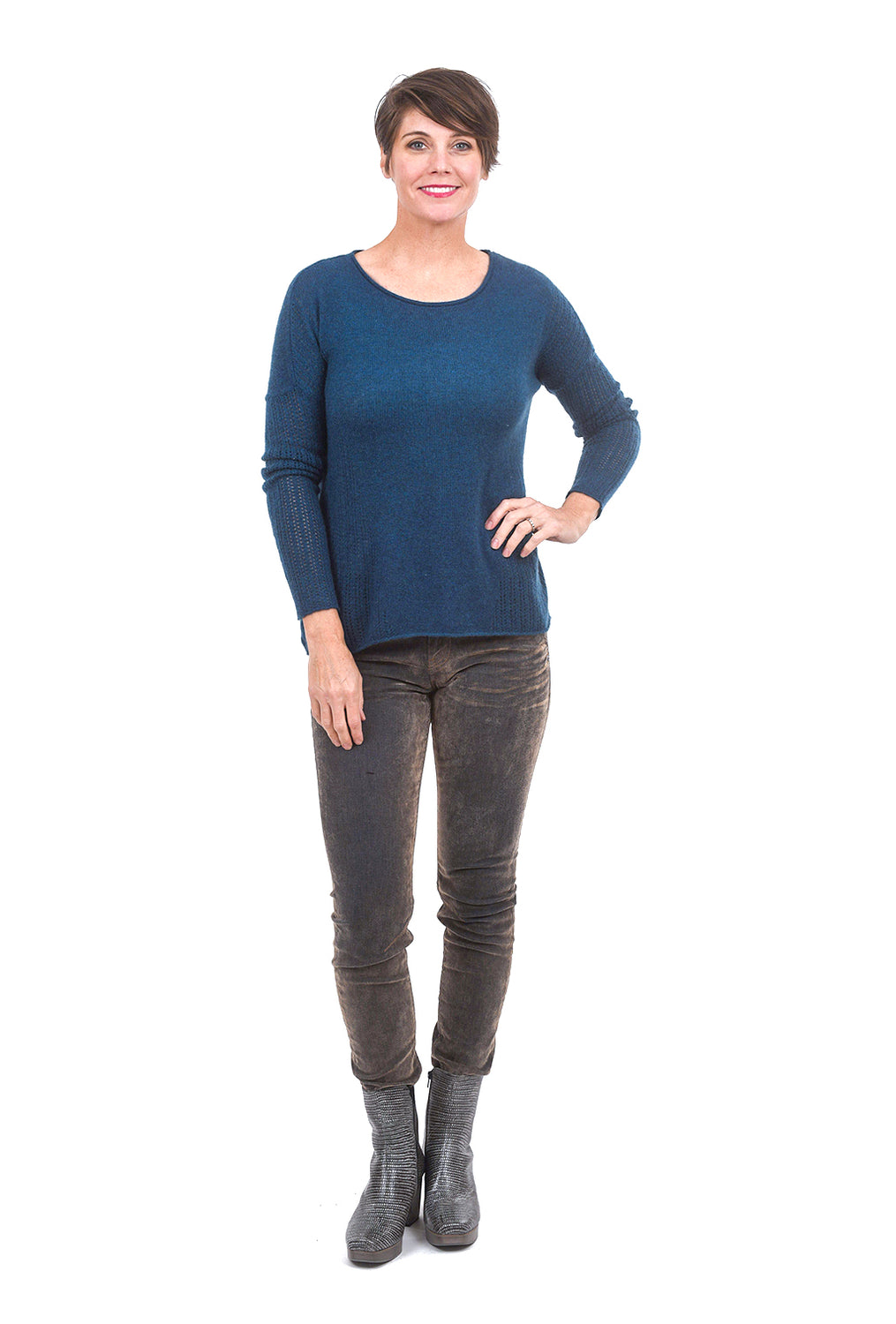 Kokun Cashmere Pointelle Pullover, Peacock