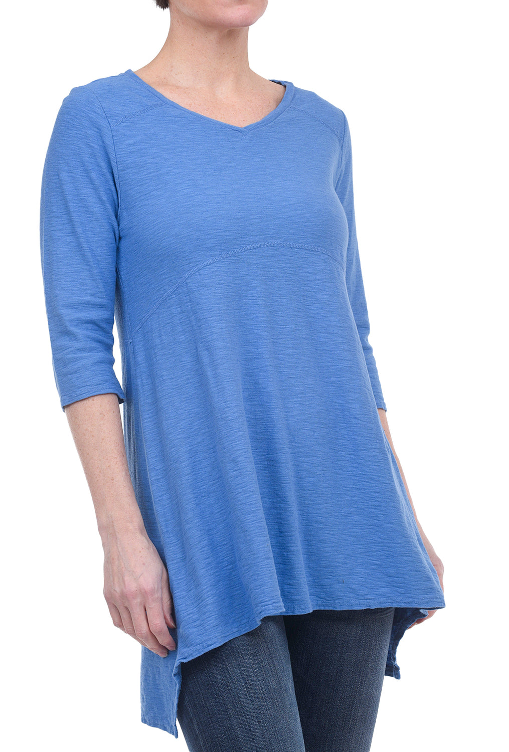 Cut Loose Linen-Jersey Seamed Tunic, Bay Blue