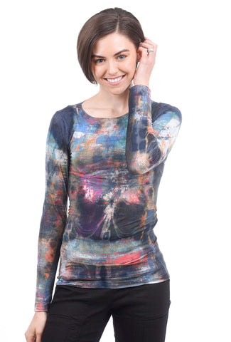 AMB Designs Raw-Edge Layer Top, Blue Mixed Media One Size Blue