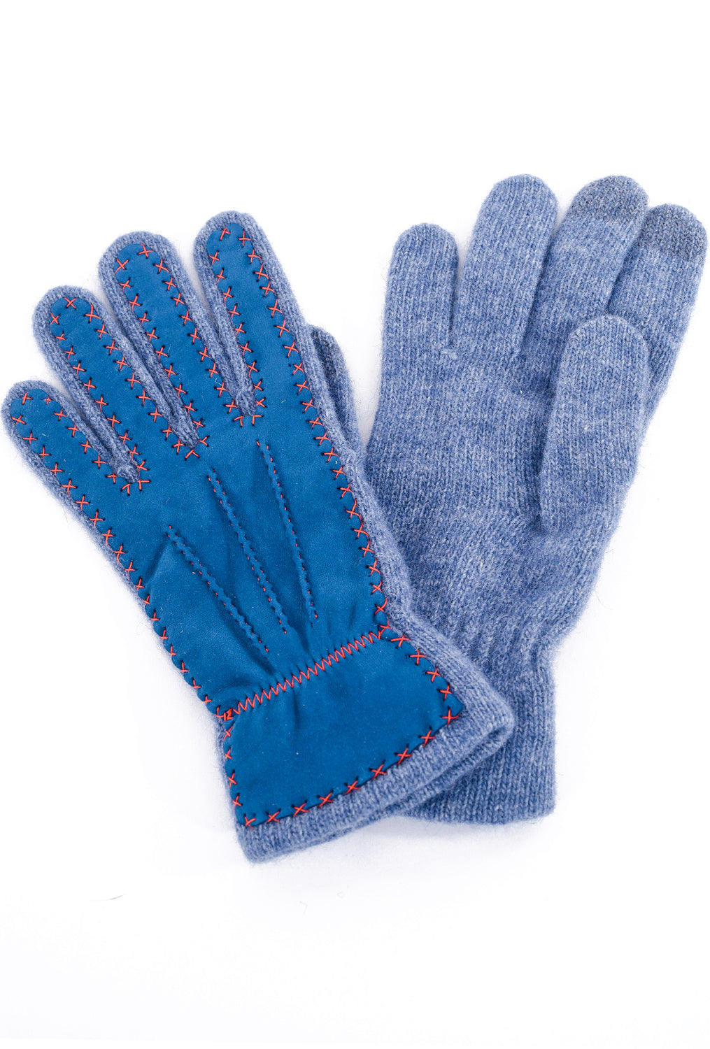 Santacana Madrid Nubuck/Angora Knit Gloves, Denim/Orange One Size Denim